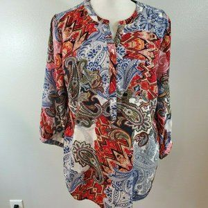 Christopher & Banks Size Large Blouse Paisley